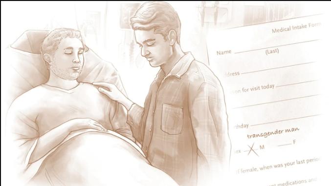 Imagen referencial del paciente con su pareja y el formulario de su género (New England Journal of Medicine)