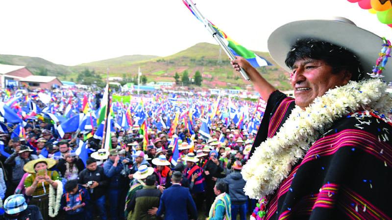 El presidente Evo Morales, durante una anterior proclamación en diciembre de 2018. Foto-ABI