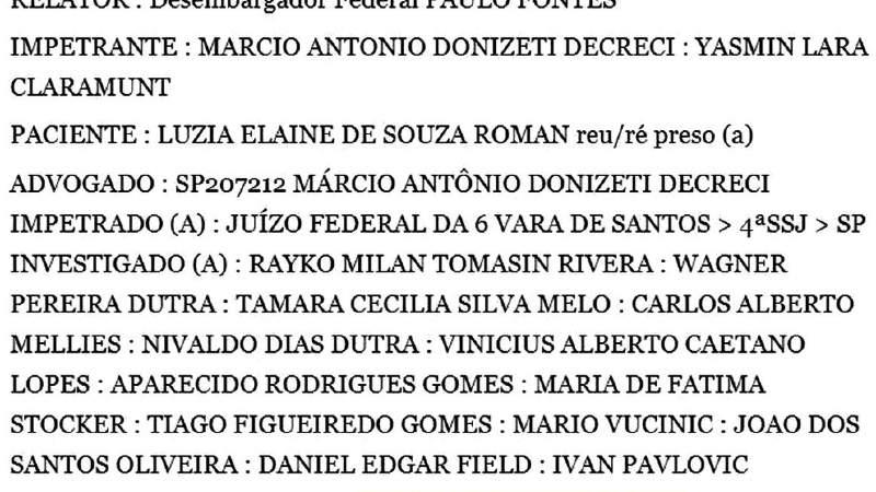 Parte del documento de habeas corpus presentado en 2015. Foto: www.jusbrasil.com.br