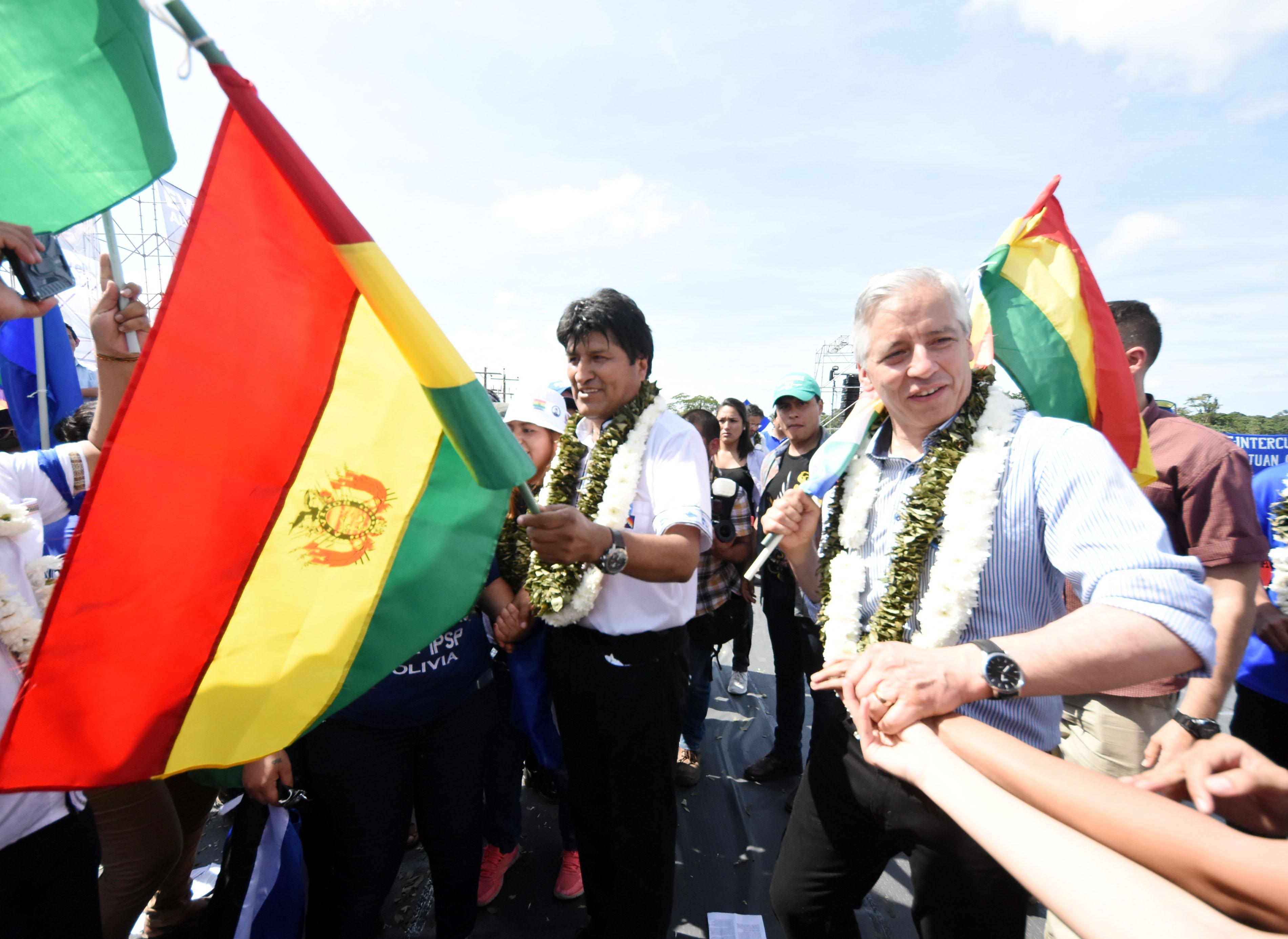 Evo Morales y Álvaro García Linera en el inicio de la campaña  en mayo del 2019