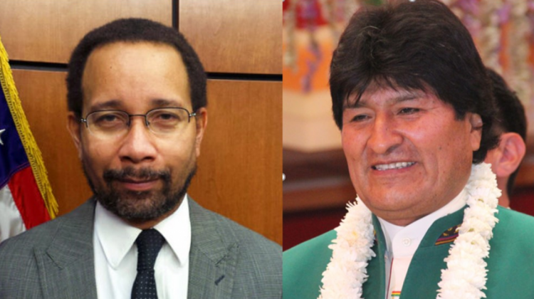 Bruce Williamson y Evo Morales. Foto ANF