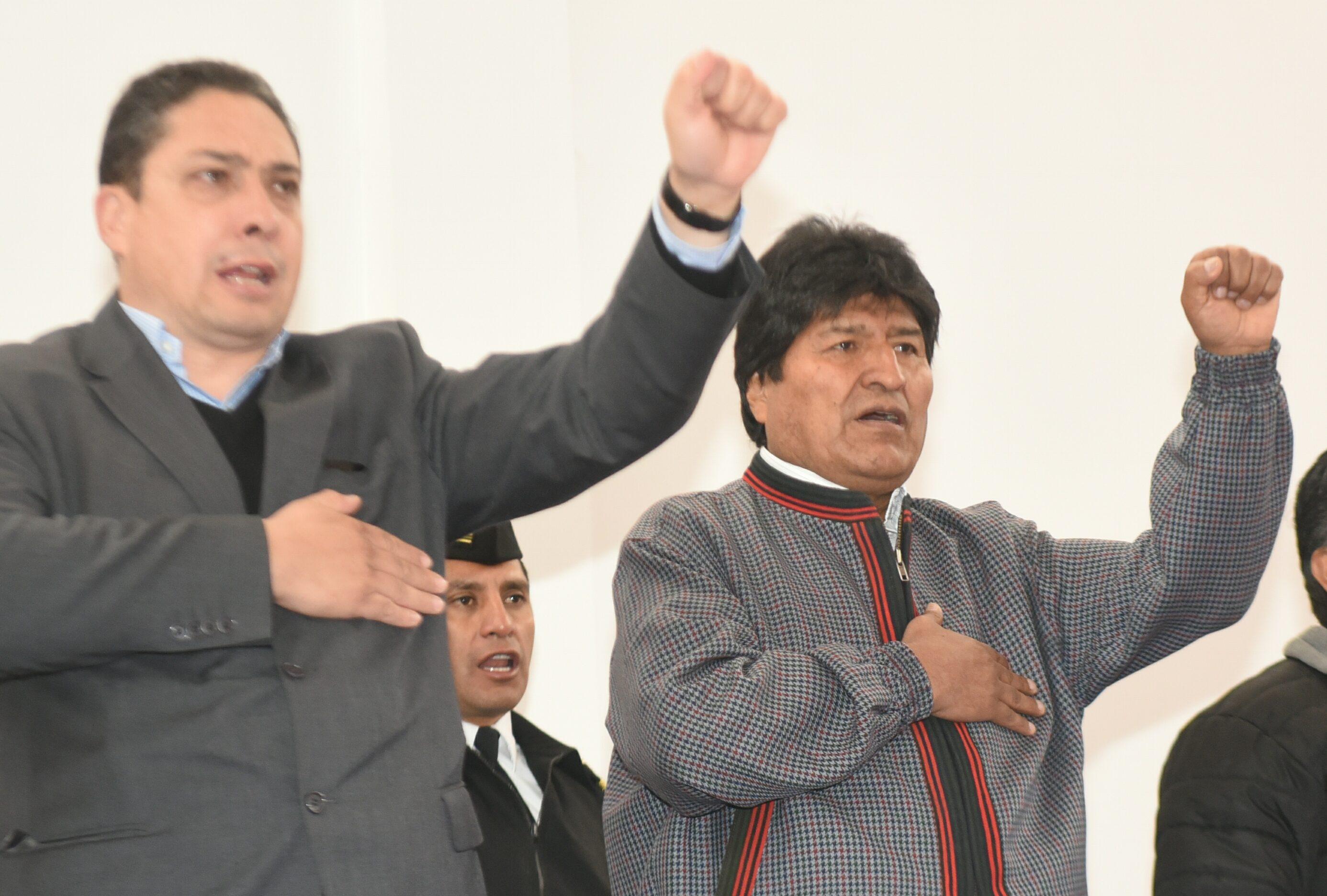 El Ministro de Justicia, Héctor Arce y el Presidente Evo Morales / ABI