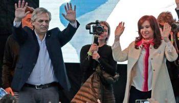 El candidato Alberto Fernández y su compañera de fórmula Cristina Kirchner. Foto- Archivo-AFP
