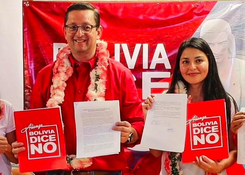 Los candidatos de Bolivia Dice No, Oscar Ortiz y Shirley Franco