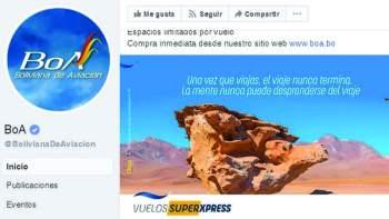 La página de Facebook de la línea aérea estatal BOA. Foto:Página Siete