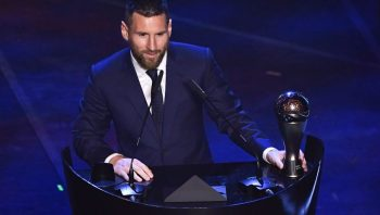 Argentina and Barcelona forward Lionel Messi speaks after winning the trophy for the Best FIFA Men's Player of 2019 Award, during The Best FIFA Football Awards ceremony, on September 23, 2019 in Milan. (Photo by Marco Bertorello / AFP)