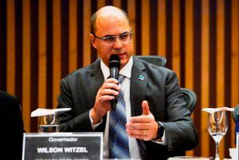 O governador do Rio de Janeiro, Wilson Witzel, fala durante o Seminário Transparência e Combate à Corrupção, no Museu do Amanhã.
