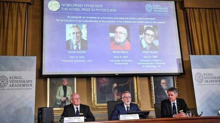 James Peebles, Michel Mayor y Didier Queloz son premio Nobel de Física. / EFE