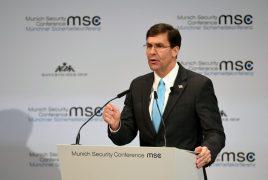 El Secretario de Defensa de EE.UU. Mark Esper habla en la Conferencia Anual de Seguridad de Munich en Alemania el 15 de febrero de 2020. (REUTERS)