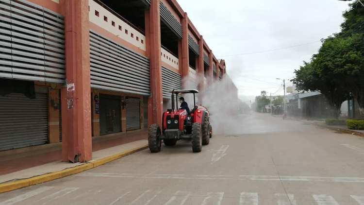 Desinfección del Mercado de Villa Montes. Foto archivo.