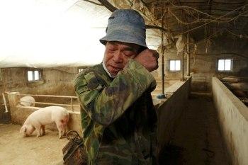 El criador de cerdos Han Yi se limpia las lágrimas mientras habla con Reuters en su granja en una aldea en el condado de Changtu, provincia de Liaoning, China, 17 de enero de 2019 en una imagen de archivo (Reuters)